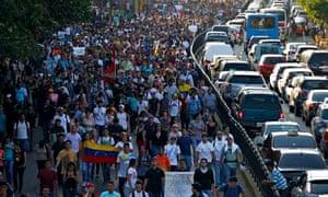Demonstrators in Caracas
