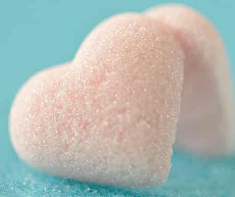 Heart-shaped pink sugar lumps