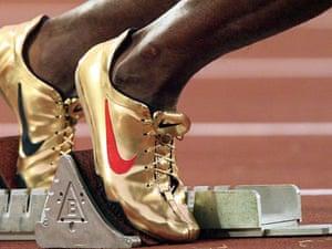 Michael Johnson of the US starts the 400m at the 1996 Atlanta Olympics.