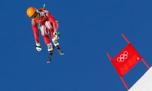 Switzerland's Sandro Viletta goes airborne during the slalom run of the men's alpine skiing super combined event at the 2014 Sochi Winter Olympics.