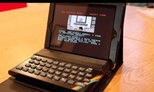 A ZX Spectrum next to an iPad – the developer's mockup for how the finished device will look.
