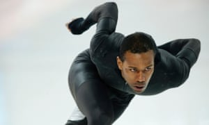 Shani Davis of the US skates in an unlabelled mystery speedskating suit during a training session this morning.