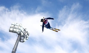 Emily Cook of the United States competes in the freestyle skiing ladies' aerials qualification.