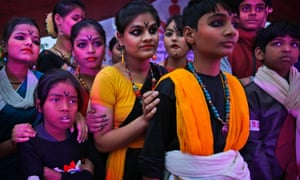 Indian children wait to perform during the One Billion Rising Campaign in New Delhi, India.