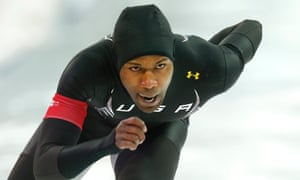 Shani Davis of USA in action in the Under Armour suit during the men's 1000m speed skating event in Sochi.