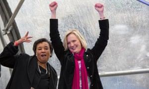 Baroness Scotland and Stella Creasy at the One Billion Rising for Justice event in Trafalgar Square, London