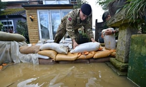 Sandbags pressed into action in Chertsey, Surrey, during the February floods.