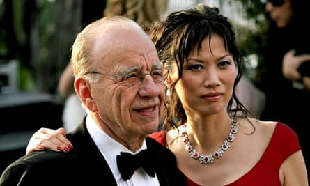 Rupert Murdoch and his then wife Wendy Deng at the Vanity Fair Oscars party in 2005