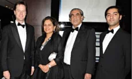 Nick Clegg pictured with (left to right) Anita, Soudhir and Bhanu Choudhrie at a charity event