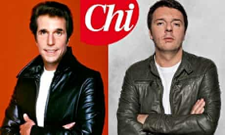 Henry Winkler as 'the Fonz'  and the maverick young Italian PM in waiting, Matteo Renzi