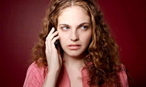 Upset woman on phone