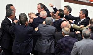 Turkish MPs scuffle