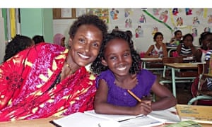 Waris Dirie visits Safa Idriss Nour at her school in Djibouti.