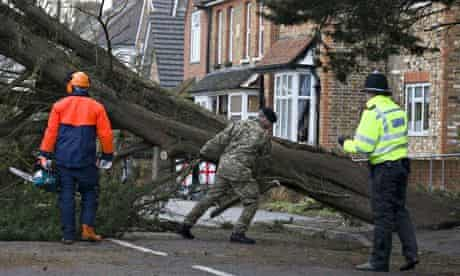 A soldier helps a tree surgeon remove a fallen tree
