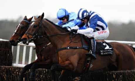 Charlie Poste riding Restless Harry, far side, on his way to a neck defeat of Teaforthree at Ascot