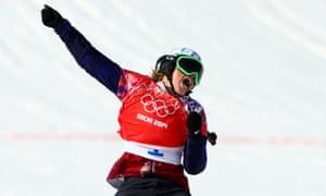Eva Samkova of the Czech Republic celebrates her win.