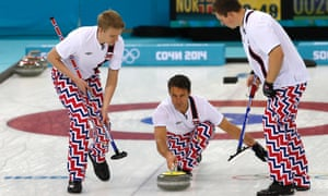 Norway's skip Thomas Ulsrud delivers the rock.
