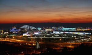 A general view of sunset over the Olympic Park.
