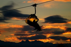 A ski lift carries skiers on day three of the Sochi 2014 Winter Olympics.