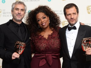 Oprah squired by Gravity director Alfonso Cuaron and producer David Heyman