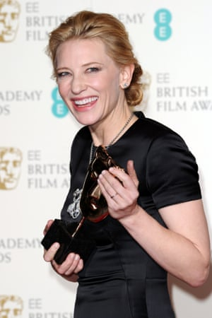 Cate Blanchett after winning the Bafta for best actress
