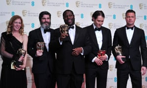 Producer Dede Gardner, producer Jeremy Kleiner, director Steve McQueen, poducer Anthony Katagas and actor Brad Pitt with their awards for best film for '12 Years A Slave'