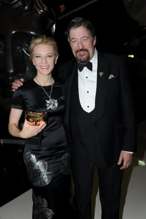 Cate Blanchett and host Stephen Fry after the awards.