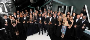 A group shot of all the winners following the Bafta Awards.