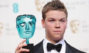 Will Poulter in the apparently freezing cold Bafta press room.