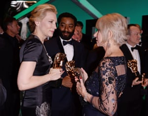 Winners' circle ... Cate Blanchett, Chiwetel Ejiofor and Helen Mirren compare their awards.