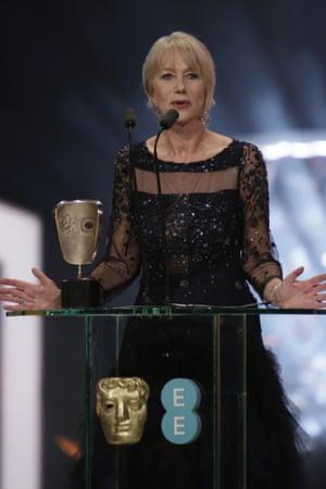 All the world's a stage …Helen Mirren, receiving her lifetime achievement award.