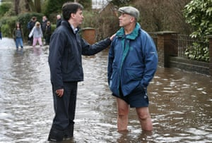 Labour party leader Ed Miliband on a visit to flood-hit Wraysbury last week.
