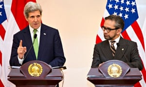 John Kerry speaks during a news conference with Indonesian foreign minister Marty Natalegawa