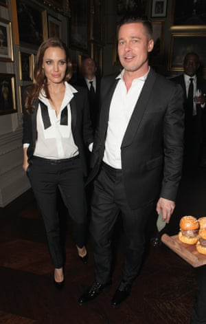 Angelina Jolie and Brad Pitt attend Entertainment One's BAFTA after party hosted by Grey Goose at The London Edition Hotel .