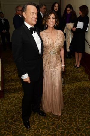 Tom Hanks and Rita Wilson at The Grosvenor House Hotel.