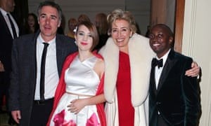 Greg Wise, Emma Thompson and their children Gaia and Tindyebwa Agaba enter the Grosvenor House party.