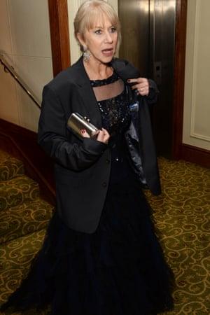 Helen Mirren in dress en route to the do. Blazer - not model's own.