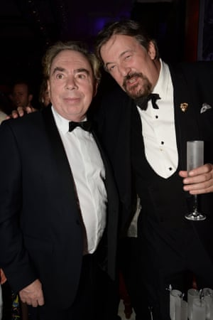 Andrew Lloyd Webber and Stephen Fry get stuck into the champers.