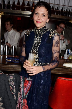 Pearly queen …Maggie Gyllenhaal at the Weinstein party.