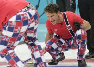 Norway's skip Thomas Ulsrud shouts to teammates during their men's curling round robin game against Switzerland.