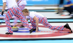 Zig-Zags: Norway's Haavard Vad Petersson throws the stone during the men's curling round robin match against Great Britain.