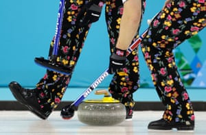 Flowers: Norway's men during their curling round robin match against Canada at the 2014 Winter Olympics.