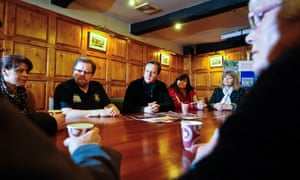 David Cameron talks with residents during a visit to Upton-upon-Severn.