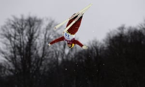 Russia's Ilya Burov competes during the men's freestyle skiing aerials qualifications.
