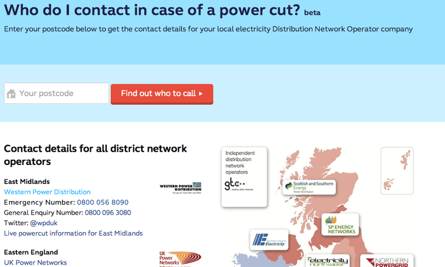 Who do I contact in case of a power cut?, one of the apps from the hack day.