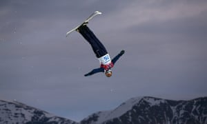 Mykola Puzderko of the Ukraine competes in the freestyle skiing men's aerials.