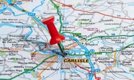 A map of the M6 motorway running through Carlisle