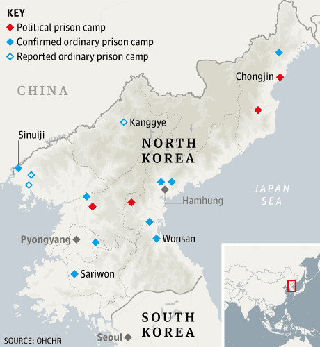 North Korea prisons map