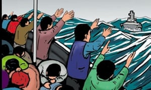 Desperate people reaching out for help: the Operation Sovereign Borders graphic campaign.