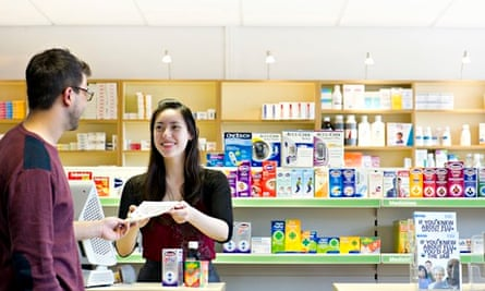 Nottingham - teaching excellence: a woman buying things in a chemist